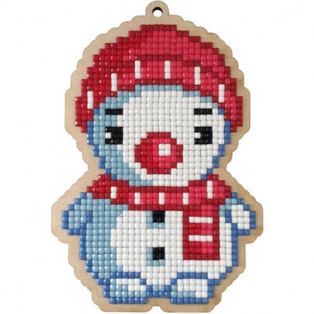 Снеговик в шарфике Алмазная мозаика подвеска Гранни Wood W0449