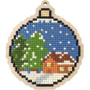 Новогодний шар Алмазная мозаика подвеска Гранни Wood W0450