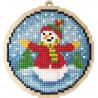 Шар Снеговик Алмазная мозаика подвеска Гранни Wood W0452