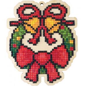 Венок с бантом Алмазная мозаика подвеска Гранни Wood W0453