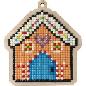 Пряничный домик Алмазная мозаика подвеска Гранни Wood W0454