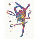 Гимнастка с лентой 60х80 см Раскраска картина по номерам на холсте с неоновыми красками AAAA-RS124-60x80