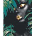 Африканка и листья 80х100 см Раскраска картина по номерам на холсте с металлической краской AAAA-RS107-80x100