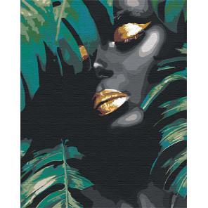 Африканка и листья 100х125 см Раскраска картина по номерам на холсте с металлической краской AAAA-RS107-100x125