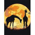 Жирафы и сияющая луна Раскраска картина по номерам на холсте с неоновыми красками AAAA-RS125