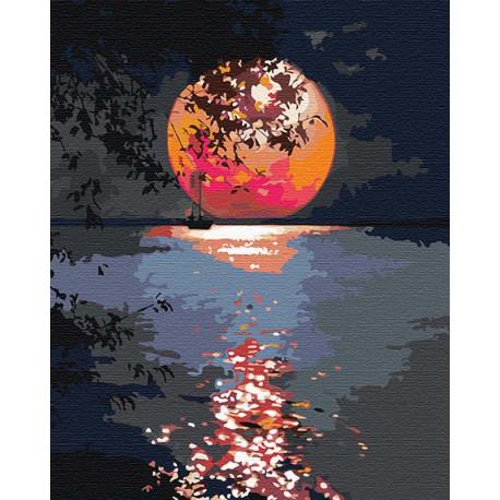 Лунная дорожка / Полная луна Раскраска картина по номерам на холсте с неоновыми красками AAAA-RS108