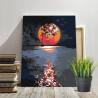 Пример в интерьере Лунная дорожка / Полная луна Раскраска картина по номерам на холсте с неоновыми красками AAAA-RS108