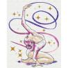 Гимнастка / Упражнение с лентой 80х100 см Раскраска картина по номерам на холсте с металлической краской AAAA-RS109-80x100