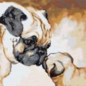 Мопсы / Мама с малышом 80х80 см Раскраска картина по номерам на холсте AAAA-JV11-80x80