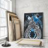 Пример в интерьере Зебра с синими цветами 60х80 см Раскраска картина по номерам на холсте AAAA-RS126-60x80