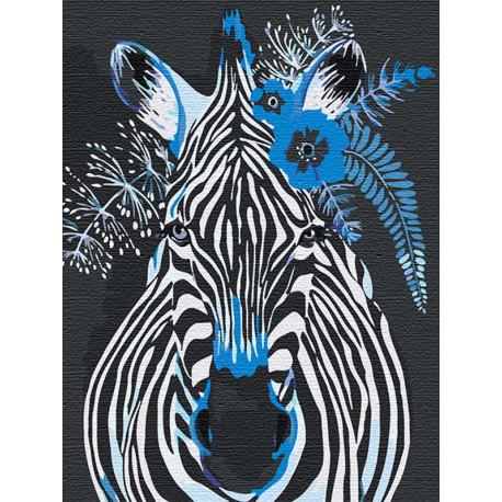 Зебра с синими цветами 75х100 см Раскраска картина по номерам на холсте AAAA-RS126-75x100