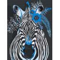 Зебра с синими цветами Раскраска картина по номерам на холсте AAAA-RS126