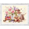 Пример оформления в рамку На чашечку кофе...? Набор для вышивания Чудесная игла 120-203