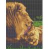 Забота льва Габардин с рисунком для вышивки бисером или крестом Каролинка ТКБЖ 3036