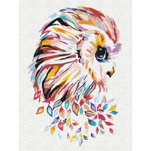 Сова цветная 75х100 см Раскраска картина по номерам на холсте с неоновыми красками AAAA-RS132-75x100