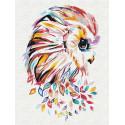Сова цветная Раскраска картина по номерам на холсте с неоновыми красками AAAA-RS132