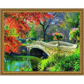 Мост в лесу Алмазная мозаика на подрамнике WB5958