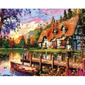 Дом с причалом Раскраска картина по номерам на холсте GX39182