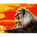 Лев на закате Раскраска картина по номерам на холсте GX39171