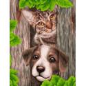 Лучшие друзья Раскраска картина по номерам на холсте GX39089