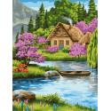 Домик в горах Раскраска картина по номерам на холсте GX39012