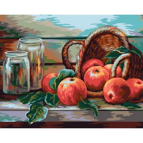 Натюрморт с яблочками Раскраска картина по номерам на холсте GX38948