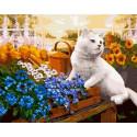 Котик в цветах Раскраска картина по номерам на холсте GX38919