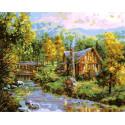 Домик у речки Раскраска картина по номерам на холсте GX38903