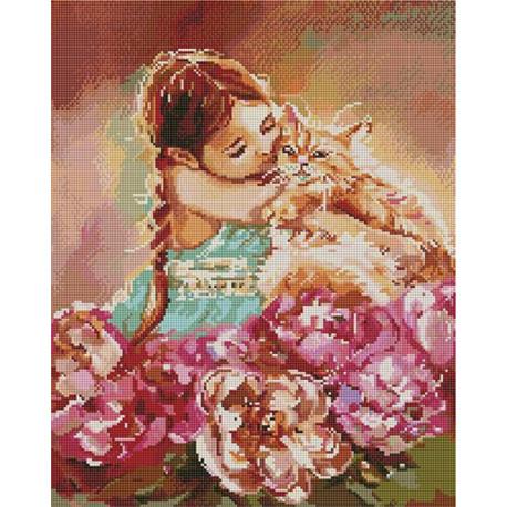 Мой милый рыжик/ Девочка с котом Алмазная мозаика вышивка на подрамнике APK59003