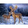 Олени в зимнем лесу Канва для вышивки Каролинка КК 066