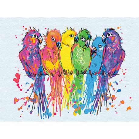Неоновые попугаи 60х80 см Раскраска картина по номерам на холсте с неоновыми красками AAAA-RS128-60x80
