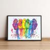 Пример в интерьере Неоновые попугаи 60х80 см Раскраска картина по номерам на холсте с неоновыми красками AAAA-RS128-60x80