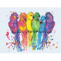 Неоновые попугаи 75х100 см Раскраска картина по номерам на холсте с неоновыми красками AAAA-RS128-75x100