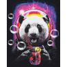 Панда в космосе с коктелем 100х125 см Раскраска картина по номерам на холсте с неоновыми красками AAAA-RS110-100x125