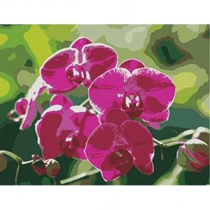 Ветка орхидеи Алмазная частичная вышивка (мозаика) на подрамнике Color Kit