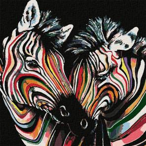 Полосатая дружба Раскраска картина по номерам на холсте