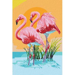 Розовый фламинго Раскраска картина по номерам на холсте