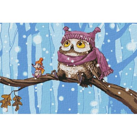 Совушка в лесу Раскраска картина по номерам на холсте