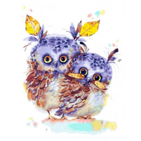 Осенние совушки Раскраска картина по номерам на холсте Белоснежка 383-AS