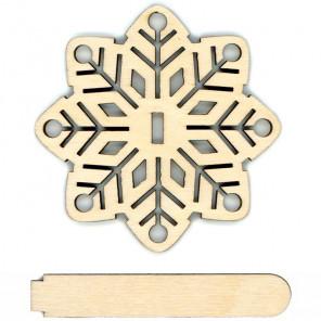 Снежинки Деревянная подставка для вышивки на пластиковой канве РА-017