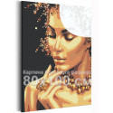 Девушка с золотым ожерельем 80х100 см Раскраска картина по номерам с металлической краской AAAA-RS113-80x100