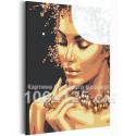 Девушка с золотым ожерельем 100х125 см Раскраска картина по номерам с металлической краской AAAA-RS113-100x125
