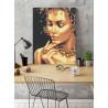 Пример в интерьере Девушка с золотым ожерельем Раскраска картина по номерам с металлической краской AAAA-RS113