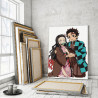 Пример в интерьере Танджиро и Незуко Камадо. Аниме Демоны 100х150 см Раскраска картина по номерам на холсте AAAA-ANI041-100x150