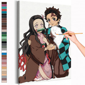 Танджиро и Незуко Камадо. Аниме Демоны Раскраска картина по номерам на холсте AAAA-ANI041