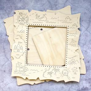 Карта средняя Рамка деревянная для вышивки ОР-230