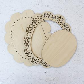 Овальная малая Рамка ажурная деревянная для вышивки ОР-020