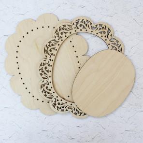 Овальная средняя Рамка ажурная деревянная для вышивки ОР-021