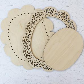 Овальная большая Рамка ажурная деревянная для вышивки ОР-022