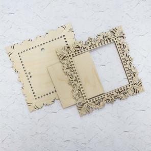 Квадратная малая Рамка ажурная деревянная для вышивки ОР-025